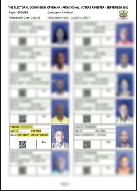 EC tear sheet, provisional voters' register (+ Ernest Norgbey)