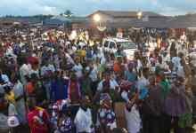 The people of Akontombra brave heavy rain to endorse President Akufo-Addo
