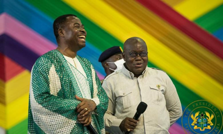 President Akufo-Addo and Reverend Anthony Kwadwo Boakye of the Resurrection Power New Generation Church (RPNGC) in Kasoa