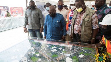 President Akufo-Addo views an artist's impression of the Obetsebi-Lamptey Interchange
