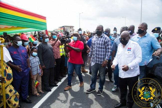 Akufo-Addo commissioning the Pokuase interchange