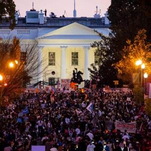 Crowds of people celebrate provisional results of US Election 2020 in Washington, DC