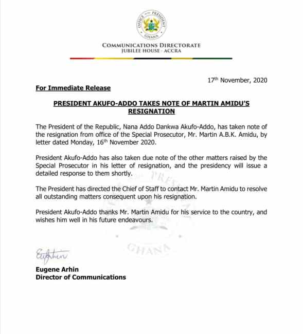 President Accepts Amidu's resignation