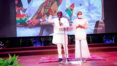Dr. Mahamudu Bawumia and his wife Samira at the Victory Bible Church