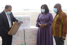 India High Commissioner to Ghana, H.E. Sugandh Rajaram presenting Covid-19 vaccines the items to Shirley Ayorkor Botchwey