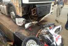 Motorbike crash with tipper truck