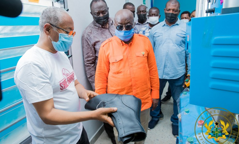 Akufo-Addo at the shoe manufacturing factory