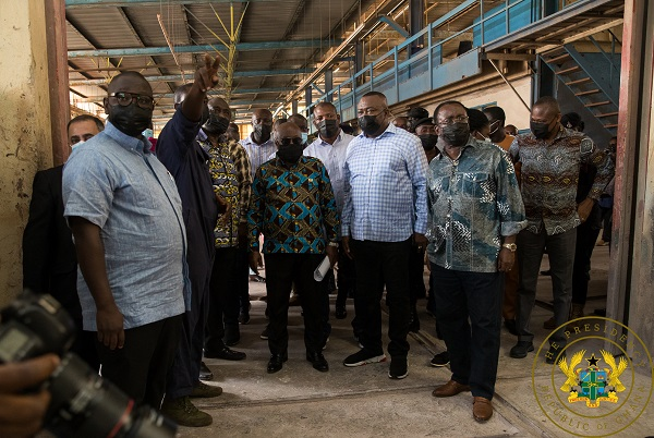 President Akufo-Addo being taken on a tour of the Neoplan facility