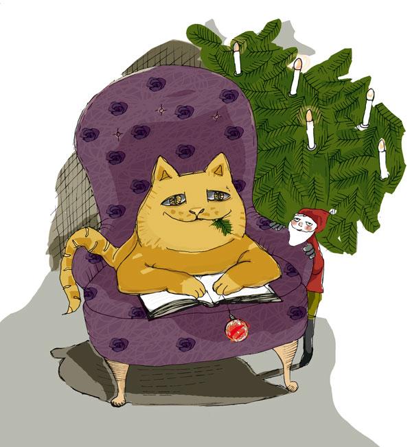 Julkatt, illustration till julnumret av Dalslands Litteraturförenings medlemsmagasin Korpgluggen