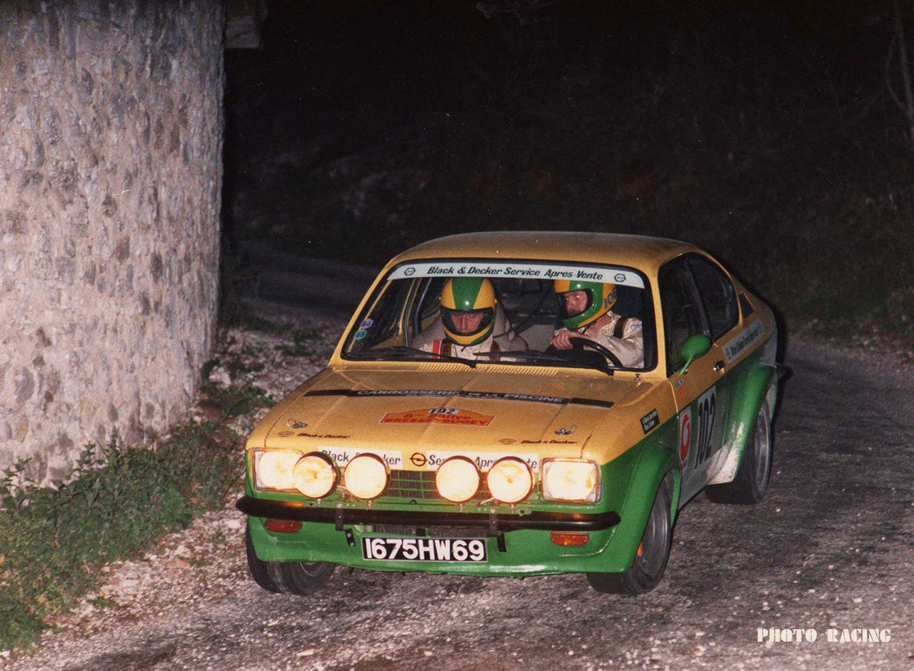 JJ REVOL, copilote de J. CECCALDI sur Opel Kadett GTE au rallye de Bresse Bugey