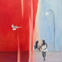 På muren/On the wall. Åsa Chambert. Olja på duk/Oil on canvas. 55x55 cm.