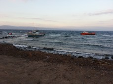 Two of the boats that have arrived in past few days. The old woman with the wheelchair came off one - can you imagine?