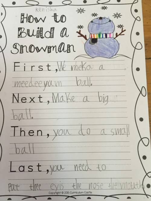 small resolution of Procedural Writing - How to Make a Snowman - Fun in first at ASA