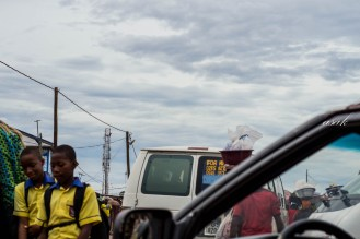 thick clouds cover the city of tema