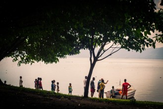 a view of the lake under a tree canopy at Ankaase. One of the 22 communities around the lake.