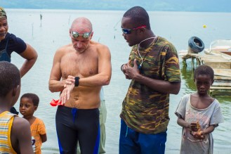 Martin checking the distance, time and other details of the swim