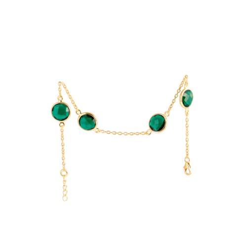 Armband Michelle Golden Emerald med guldpläterat silver och tillverkad kvarts likt smaragd