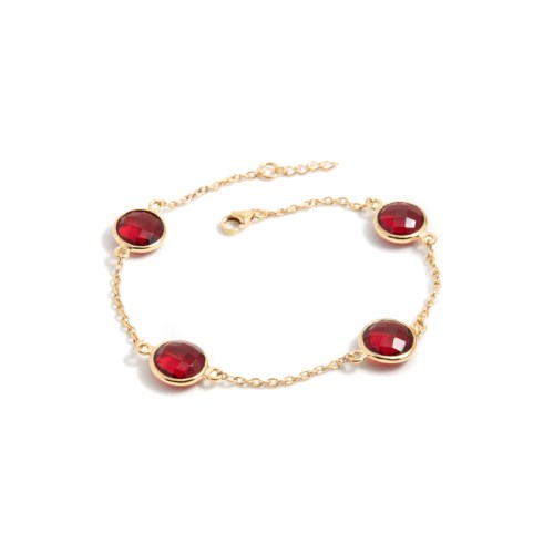 Armband Michelle Golden Ruby i guldpläterat silver och tillverkad kvarts likt granat
