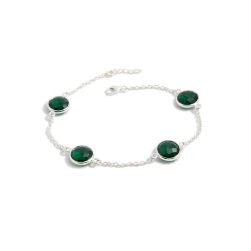 Armband Michelle Golden Emerald i silver och tillverkad kvarts likt smaragd