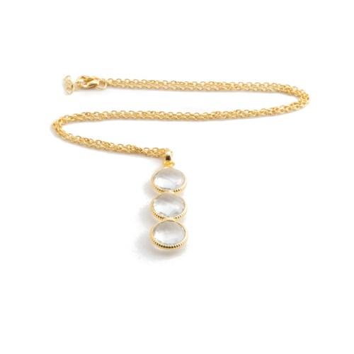 Halsband Noomie Golden Crystal med guldpläterat silver och bergkristall