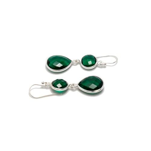 Örhängen Sellma Silver Emerald