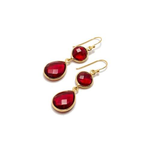 Sellma Golden Ruby örhänge i guldpläterat silver med sten i tillverkad kvarts