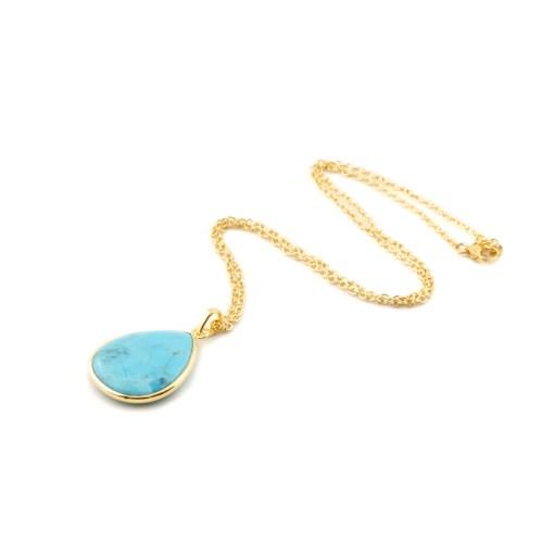 Halsband med sten av äkta turkos infattat i 18 k guldpläterat silver