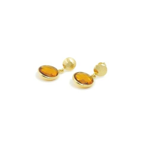 Örhängen med sten av syntetisk kvarts infattat i guldpläterat silver