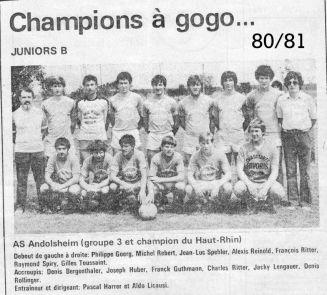 As Andolsheim Junior 1980-1981