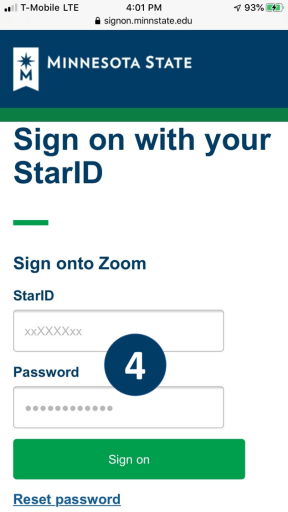Screenshot of a web browser with the Minnesota State sign on with your Star ID page. A user's StarID and password are entered as credentials