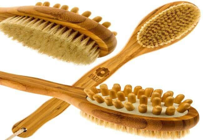 Bath Blossom Bamboo Body Brush for Back Scrubber - Natural Bristles Shower Brush with Long Handle - Excellent for Exfoliating Skin and Cellulite - Use Wet or Dry Brushing - Suitable for Men and W