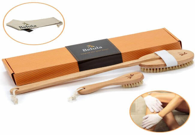 Premium Dry Brushing Body Brush Set- Natural Boar Bristle Body Brush, Exfoliating Face Brush & One Pair Bath & Shower Gloves. Free Bag & How To – Great Gift For A Glowing Skin & Healthy Body