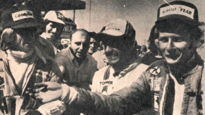 The first three: from left to right, Jacques Laffite (2nd), Carlos Reutemann (1st) and Niki Lauda (3) (CORSA Archive).