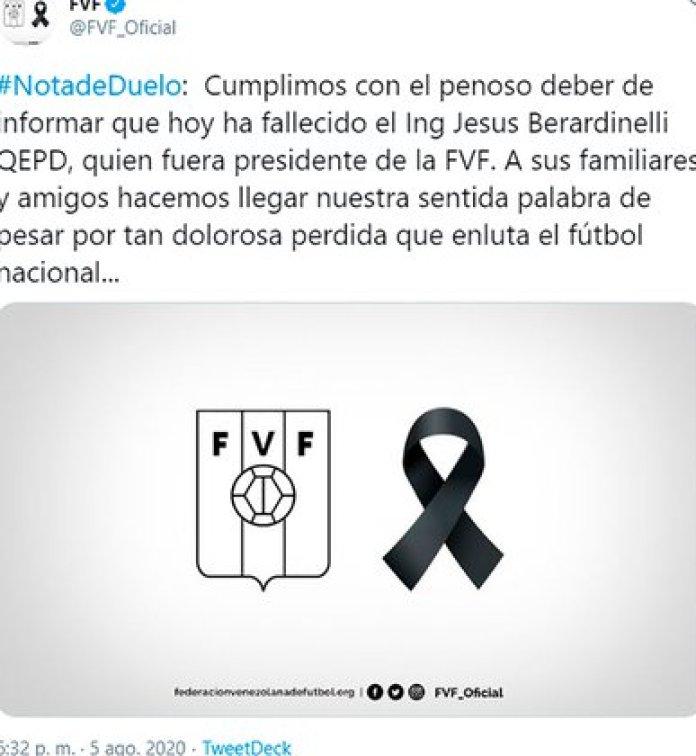 The message of the Venezuelan Football Federation (FVF)