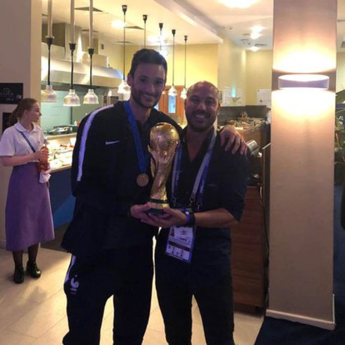 Luis Ferrer with Hugo Lloris, world champion goalkeeper with France, whom he met during his time in Nice