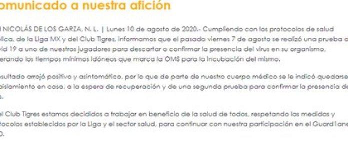 UANL Tigers statement (Photo: Club Tigres)
