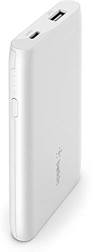 Belkin external battery 5K Boost Charge (portable charger with USB port, 5000 mAh capacity, power bank for iPhone, AirPods, iPad, Pixel and Samsung devices among others), white