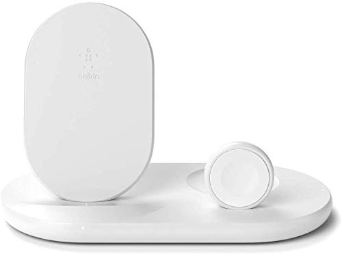 Belkin 3-in-1 Wireless Charger, 7.5W Charging Station for iPhone, Apple Watch and AirPods, Charging Dock for iPhone, Charging Stand for Apple Watch, White