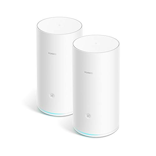 HUAWEI WiFi Mesh (2 Pack) - Mesh Router, Wi-Fi Repeater, AC2200 Triple Band, 1.4GHz Quad Core CPU, Solid and Reliable Coverage throughout Your Home (up to 400 m²), One Touch Connection, White