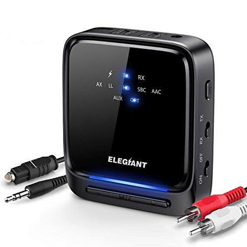 ELEGIANT Bluetooth 5.0 Transmitter, Low Latency HD Audio 2-in-1 Wireless Receiver with Optical Toslink / SPDIF for TV Portable Stereo Speaker Headphone Helmets