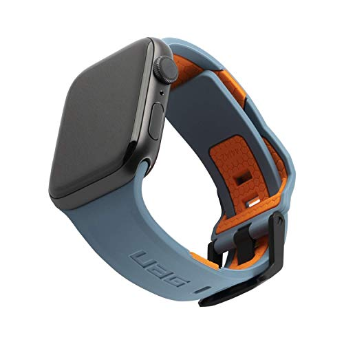 Urban Armor Gear Civilian Bracelet for Apple Watch 42mm / 44mm (Watch SE, Series 6, Series 5, Series 4, Series 3, Series 2, Series 1, Soft Silicone Strap, Steel Clasp) Blue / Orange