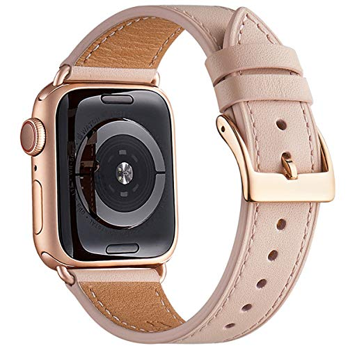 QAZNZ Leather Straps for Apple Watch 40mm 38mm 44mm 42mm, Men Women Strap Replacement for iWatch Series 6 5 4 3 2 1 & amp;  SE (38mm 40mm, Pink sand / Pink gold)