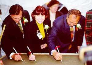 Signing The Cornerstone at York Central Hospital, now called MacKenzie Health.