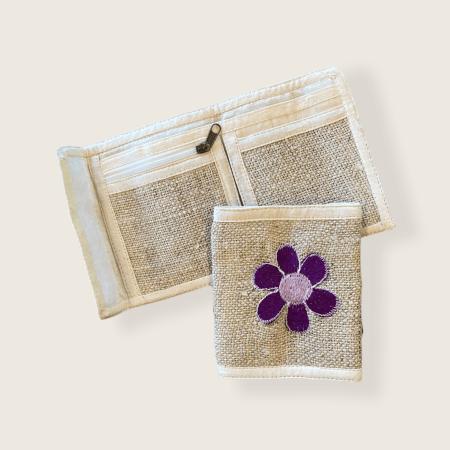 Hemp Bi-fold Wallet - Purple Flower