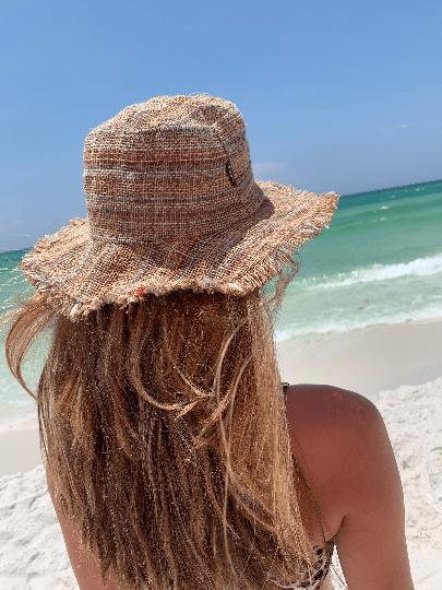 Asatre Hemp Wide Brim Sun Hats -Tan with Light Stripes