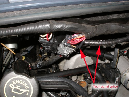 small resolution of note that ford changed the engine bay wiring harnesses over the years in particular the older round connector harness probably does not have the tach