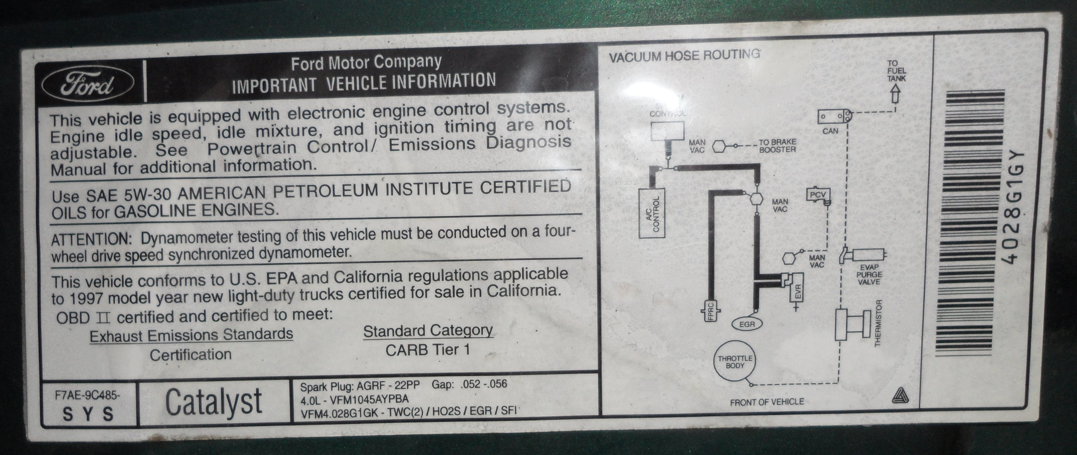 ford ranger 2 3 engine diagram dfd context important tune up information - page truck enthusiasts forums