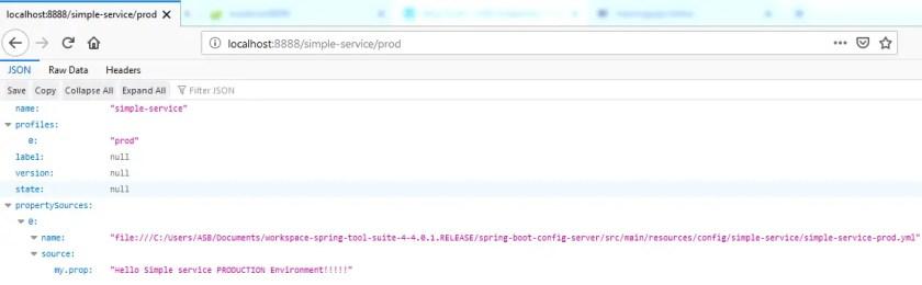 configuration server profile prod