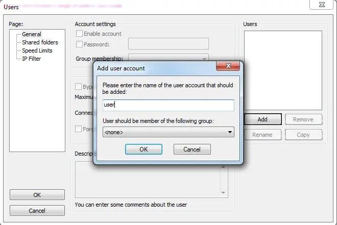 FTP setup FileZilla on Windows.
