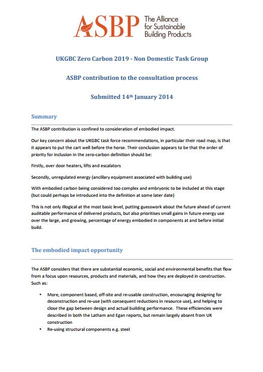 UKGBC Zero Carbon 2019 - Non Domestic Task Group